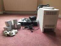 Subwoofer, control unit (cd/dvd) 5 spars (inc fittings) remote control & cables.
