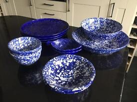 Blue Serving Plates and Bowls