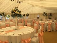 Wedding and event chair cover, Centerpiece hire from £1 per chair cover with sash