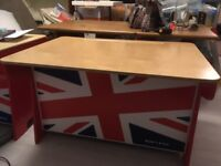 Children's desk and toy box combined