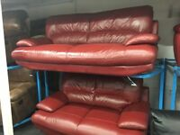 NEW / Ex DISPLAY Red Real Leather Samara 3 Seater + 2 Seater Sofa