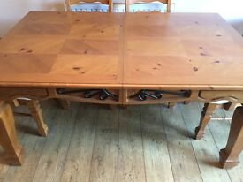 Dining table and 6 chairs, side table and display cabinet