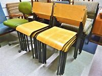 VINTAGE 1960 1970 WOODEN AND METAL SCHOOL STACKING CHAIRS IN GREAT CONDITION. X10 AVAILABLE