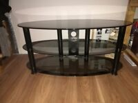Black/clear TV bench/table