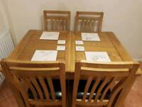 Dining table,Solid oak extending table and 4 chairs