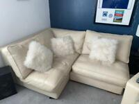 Collins & Hayes Cream Leather Sofa