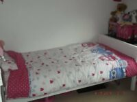 White Single bed and mattress, Hardly used. In excellent condition.