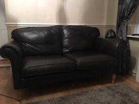 Immaculate Brown Leather Sofas X 2. Made by Shadwack & Wallace Billericay. They are 2 & half seaters