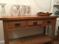 Solid oak console table with 3 drawer and shelf