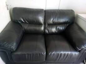 2 seater black leather settee and chair