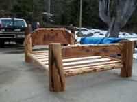 chainsaw carved log bed