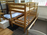 Solid pine, antique pine finished Shelley style bunk bed frame, standard single size - £89!