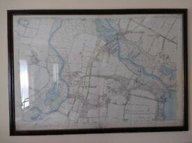 Large framed antique/historical (dated 1882) map of Wroxham/Hoveton