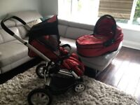 Quinny Buzz red 3 piece travel system from birth to age 4 , full collapsible clean Good as new.