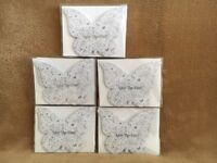 Wedding stationary: 'Save the date' wedding invite cards. Butterfly shape. Silver on white