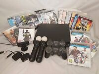 Huge Playstation 3 bundle - Console, 2x Controllers, 2x Move Controllers & Cam, 18 Games And More!