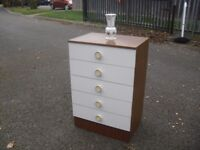 Very Clean Retro Teak Effect Chest Of 5 Drawers