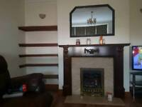 Gas fire with mantel, marble surround and hearth
