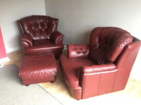 2 x Leather Arm Chairs & Leather Pouffe