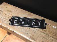 Vintage style entry metal sign plaque ornament shop prop quirky