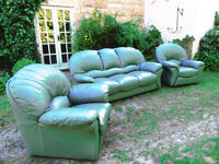 Leather Three Piece Suite Sofa + Chair+Recliner Chair Green £280.00 Was £2.600 New Good Condition!!