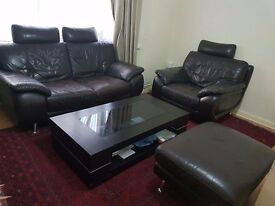 Dark Brown DFS Leather Sofa Set with Table FOR SALE