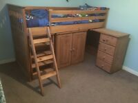Solid wood children's cabin bed, bookcase, chest of drawers, cupboard, desk, ladder