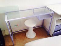 Lilac dressing table / desk glass £20 Ikea