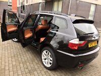 .2007 BMW X3 M SPORT BLACK 2.0D 4X4 ESTATE FULL S/H TERRACOTTA LEATHER.