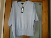 Marks & Spencer short sleeved Pale Blue Jumper size 14 New with Tags