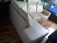 White leather corner sofa can deliver