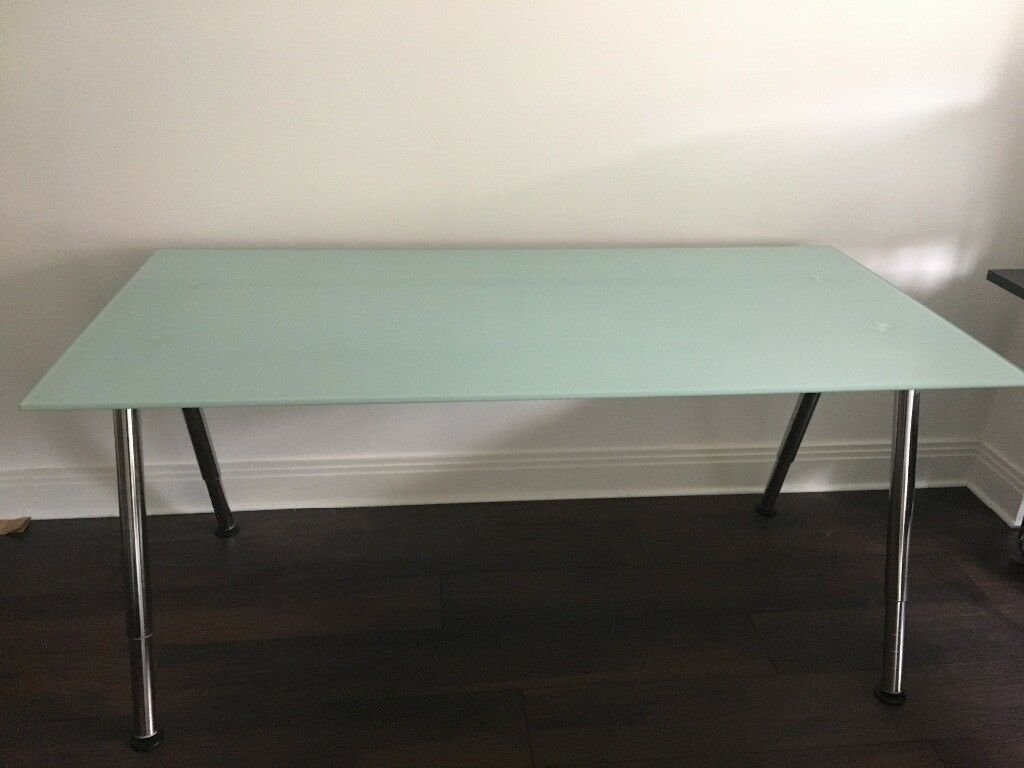 Further Reduced Excellent Condition Ikea Galant Frosted Glass Desk Discontinued In