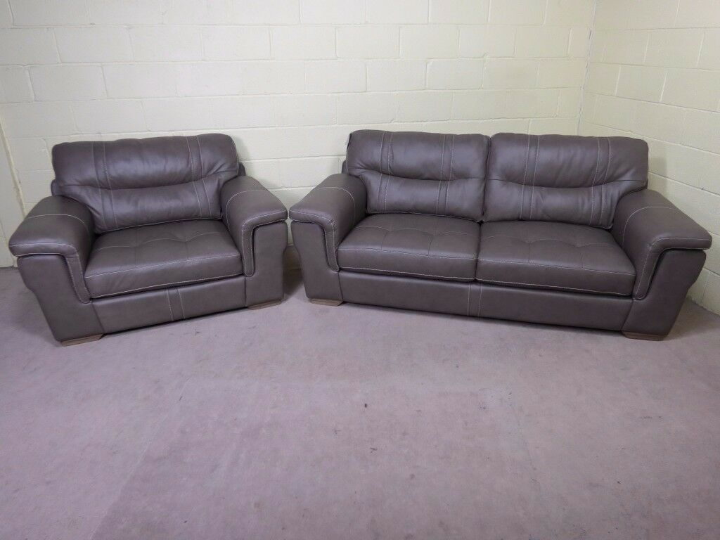 QUALITY EX DISPLAY 'DAYSON' 3 SEATER SOFA PLUS SNUGGLER ARMCHAIR IN GREY REAL LEATHER SETTEE/SUITE