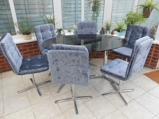 Outstanding 1960S 1970S Ex Harrods London Chrome Retro 6 Swivel Dining Chairs Plus Glass Dining Table Vintage In Dawlish Devon Gumtree Andrewgaddart Wooden Chair Designs For Living Room Andrewgaddartcom