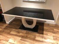 Giovani Black White High Gloss Glass Dining Table 160cm x 90cm