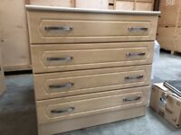 Nearly New Bedroom Chest of Drawers (4 drawers) in Beech effect