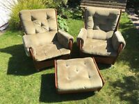 PRICE REDUCED AGAIN £100 Bargain . 2 G-Plan Teak Saddle Suite chairs and Pouffe - green velour