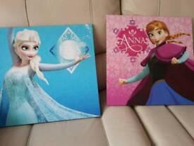 Elsa & Anna canvas pictures vgc