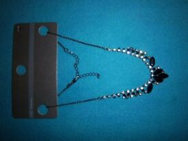 New M&S Diamante & Black Bead Necklace IP1