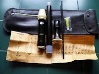 Treble recorder by Aulos with case, fingering chart, joint grease and cleaning rod