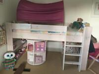 Wooden camp bed with desk& storage