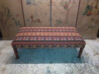 handmade persian kilim coffee table ottoman on antique legs by master upholsterer in surrey