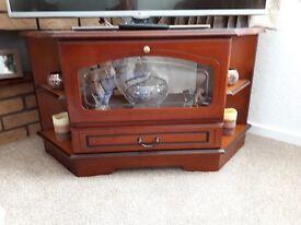 Corner TV Cabinet Dark Cherry Wood Excellent Condition