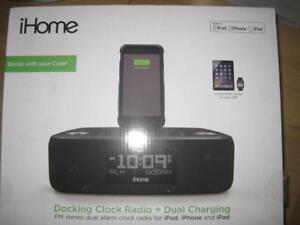 iHome Dual Alarm Clock. FM Radio. Apple iPhone Lightning Dock. USB Charging. AUX in Audio. Programmable Snooze. Speaker