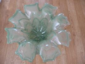 Large Green Glass flower Shaped BowL 18inch diameter Beautiful