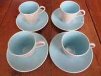 Vintage/ Retro Poole Pottery Coffee set 4 cups & saucers sky blue/dove grey, in excellent condition