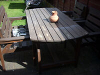 WOODEN GARDEN TABLE .2 CHAIRS .1 BENCH £50 ono