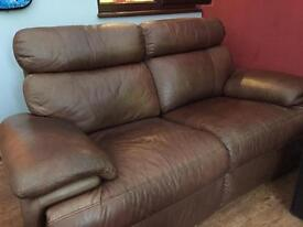 Brown leather two seater double electric recliner