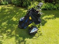 MacGregor golf clubs, stand bag and practice club bag