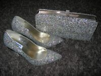 DUNE Multi-Glitter Bag & Shoes (size 5/38)